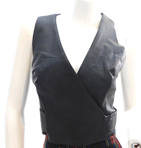 1990s Leather wrap style corset
