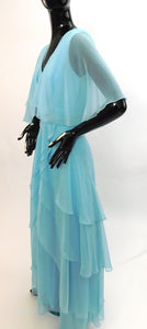 Vintage 1970s custom made tiered blue Chiffon gown