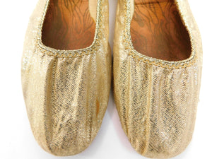 Vintage Late 1960s metallic gold lame' ballet flats