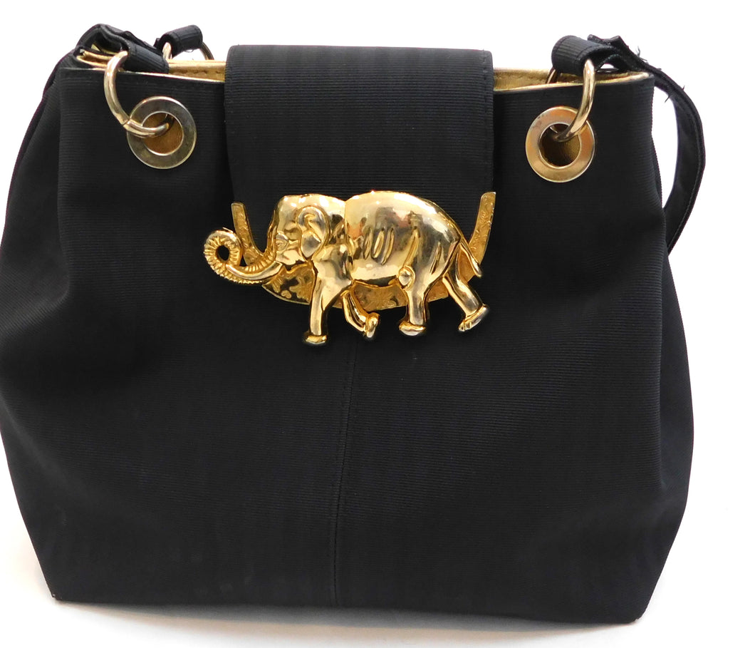 Vintage 1980s Vegan leather purse with elephant brass hardware