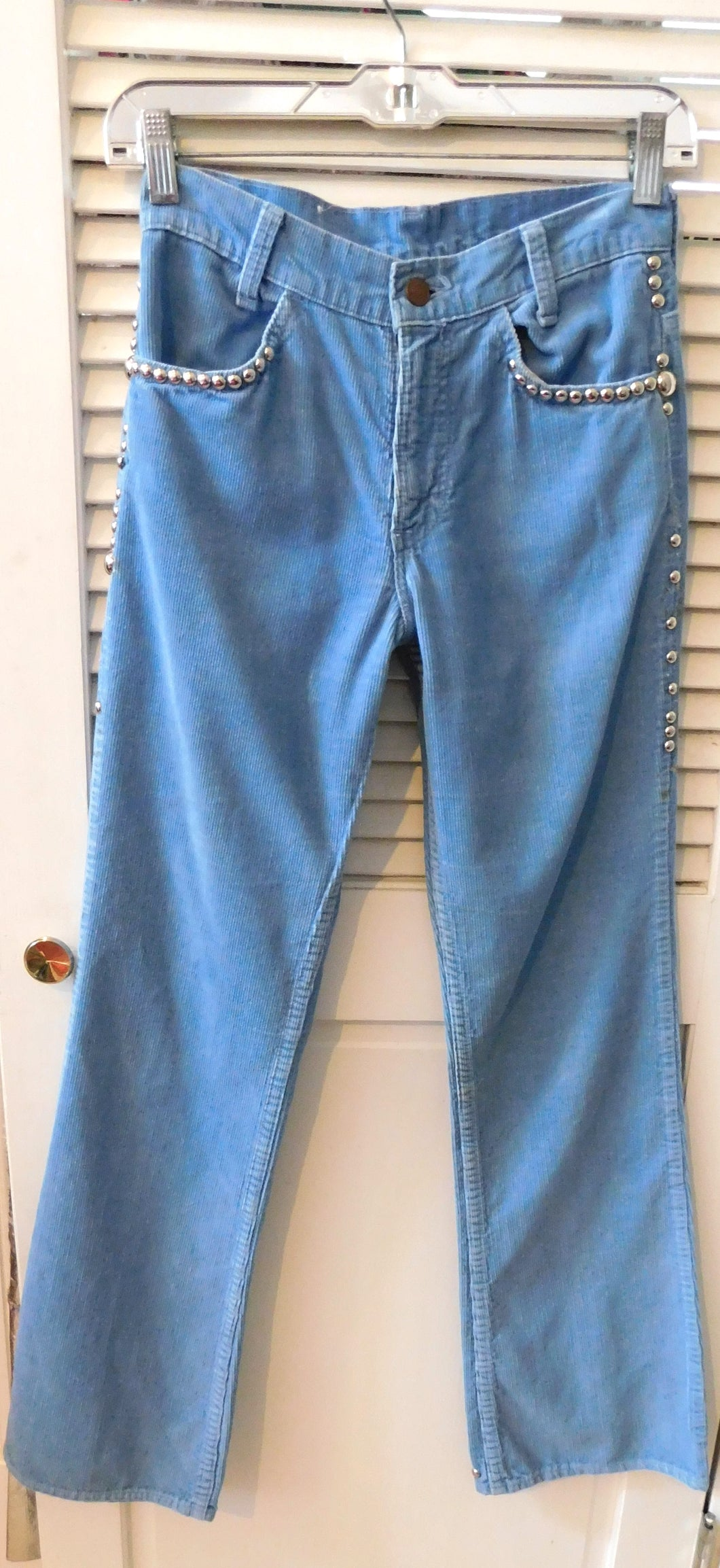 Vintage 1970s distressed and studded Levis Corduroy bells from the estate of Tanya Tucker