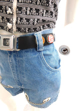 Load image into Gallery viewer, Vintage 1990s novelty bottle cap and seat belt buckle belt