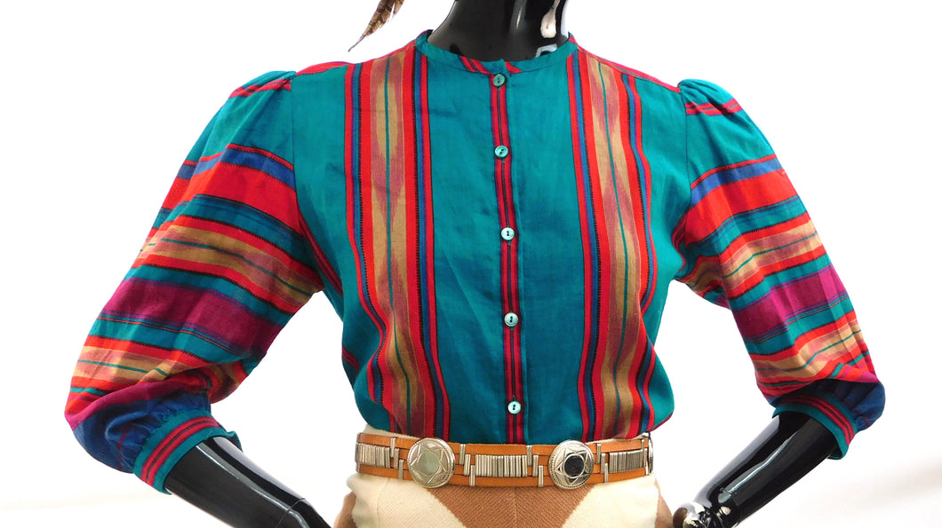 Vintage Rainbow Puff Sleeve Southwest style blouse