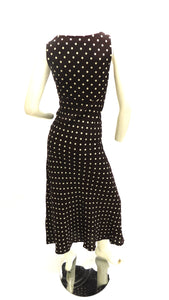 Vintage 1990s does 1930s Brown and Polka dot day dress