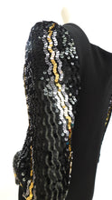 Load image into Gallery viewer, Vintage 1970s Sequin balloon sleeve maxi dress by Lillie Rubin