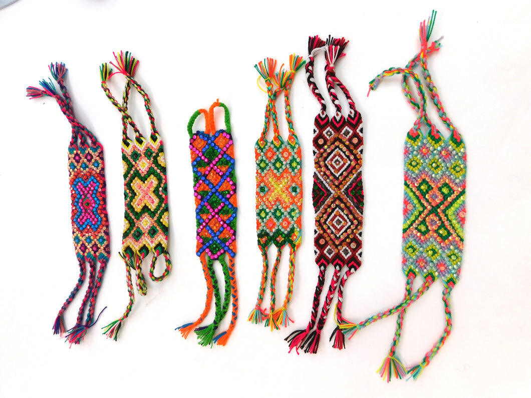 Hand woven and crystal friendship bracelets made in Colombia