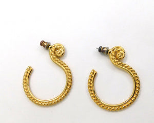 Vintage gold brass hoop earrings