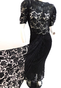 Vintage 1930s Beads and lace evening gown with front panel