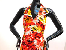 Load image into Gallery viewer, Vintage 1970s Hawaiian halter style floral maxi dress