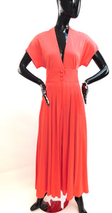 Vintage 1970s James Daugherty Pleated Palazzo liquid Jumpsuit