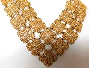 vintage 1970s filigree link statement necklace