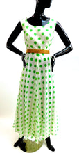 Load image into Gallery viewer, Vintage 1970s curvy girl polka dot chiffon gown by Doncaster