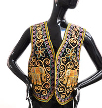 Load image into Gallery viewer, Vintage 1980s ornamental Elephant hippie vest