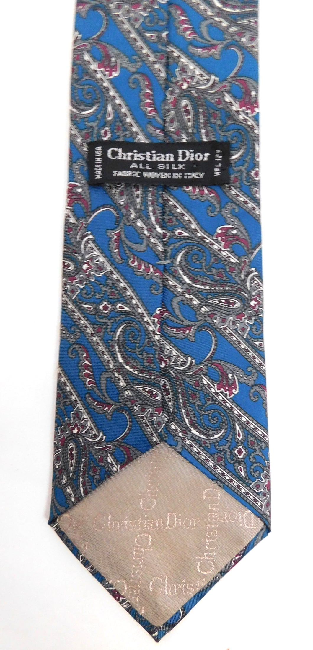 Vintage mens paisley printed tie by Christian Dior