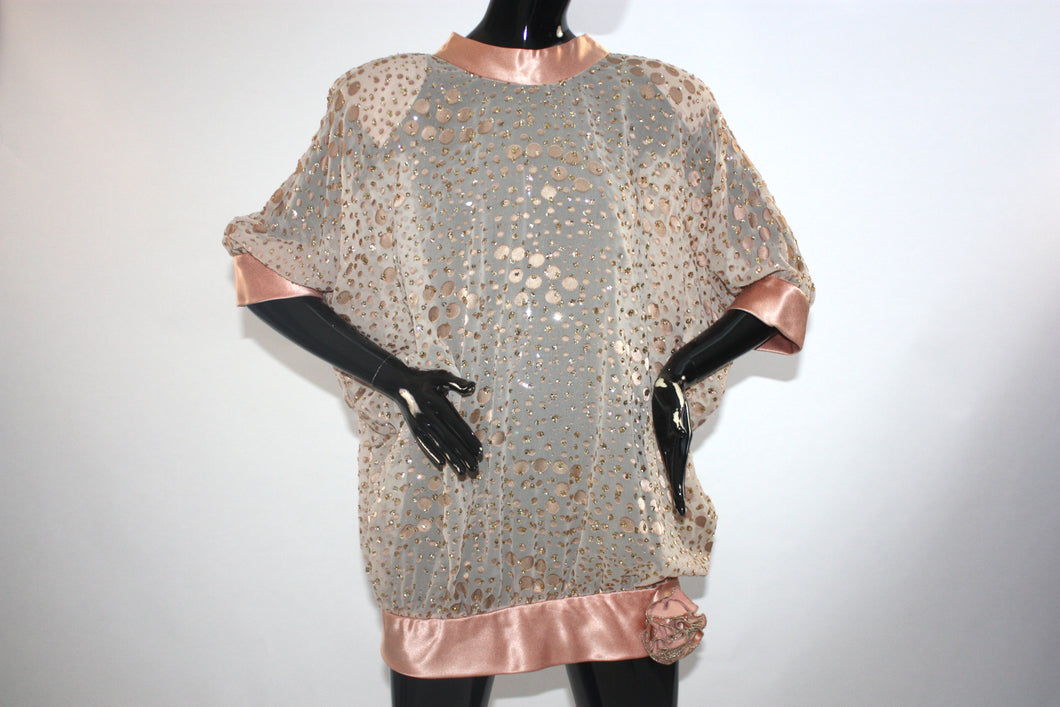 Vintage 1980s Sheer and shiny glitter tunic
