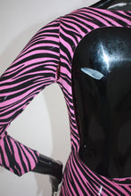 Load image into Gallery viewer, Betsey Johnson 1980s zebra print  throwback body con dress