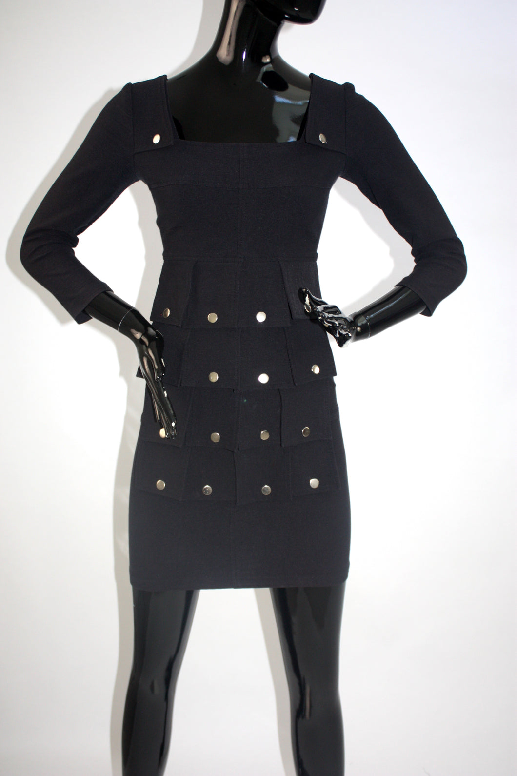 1980s Made in France paneled body con dress