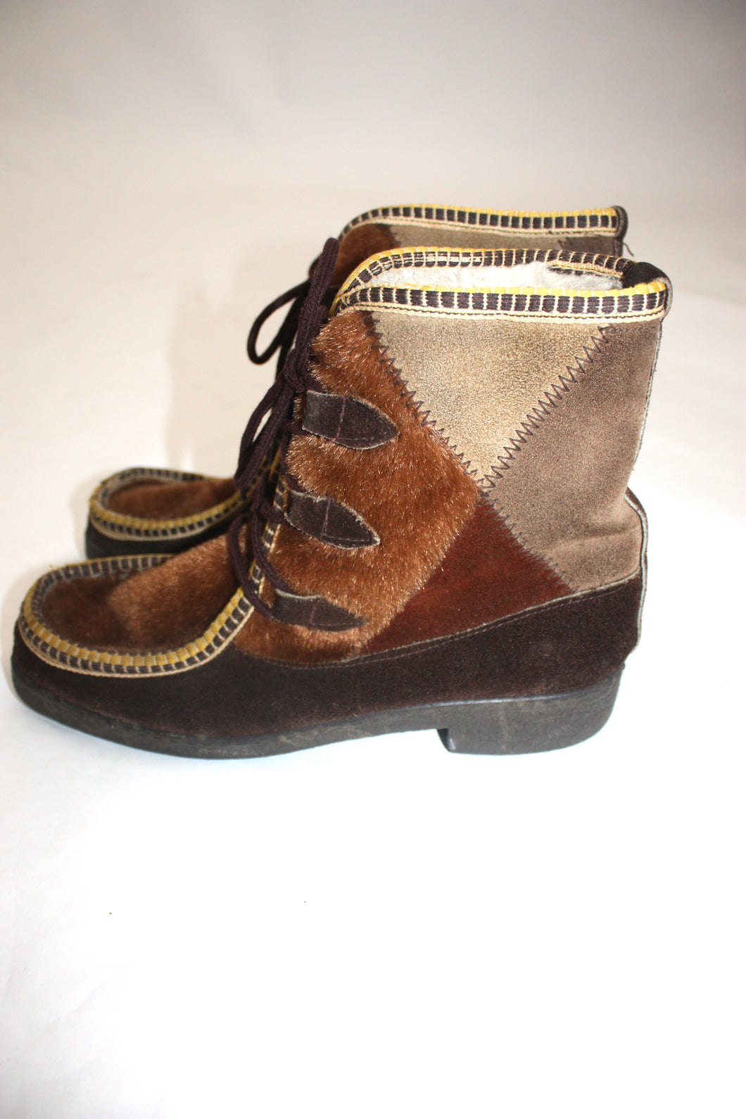 1970s Italian fur/suede patchwork snow boots