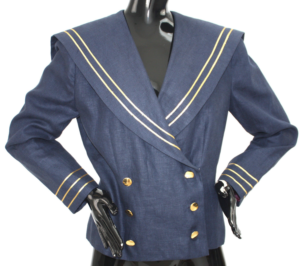1980s Linen Fashion Editorial Sailor blazer