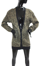Load image into Gallery viewer, VTG Pierre Cardin deep V gold metallic long knit cardigan