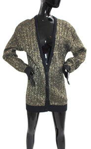 VTG Pierre Cardin deep V gold metallic long knit cardigan