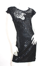 Load image into Gallery viewer, Vintage 1970s Sequin Black swan embroidered beaded motif body con party dress