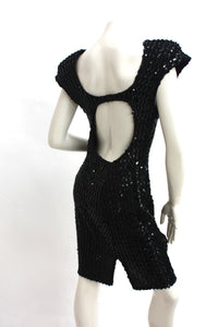 Vintage 1970s Sequin Black swan embroidered beaded motif body con party dress