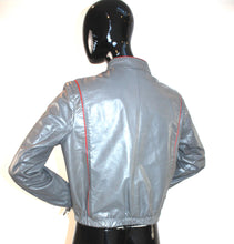 Load image into Gallery viewer, VTG 1970s 1980s Grey with red piping leather jacket.