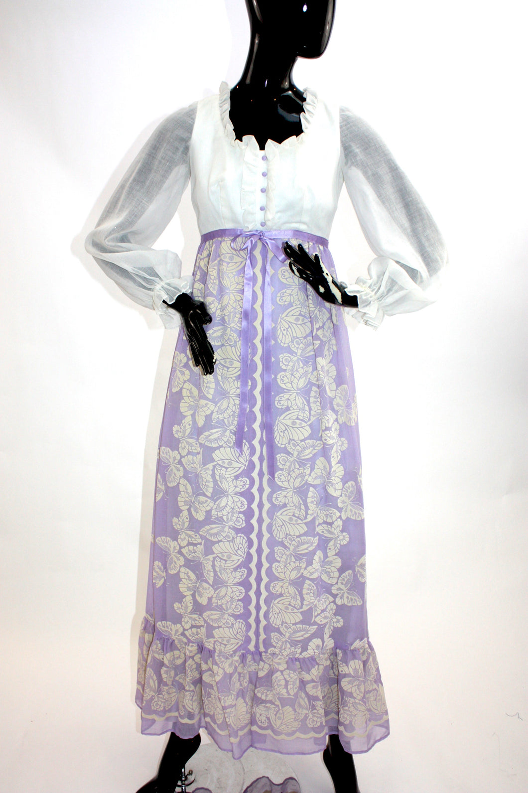 Vintage 1970s novelty butterfly print cotton maxi dress