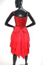 Load image into Gallery viewer, Vintage 1980s red layered sequin party dress