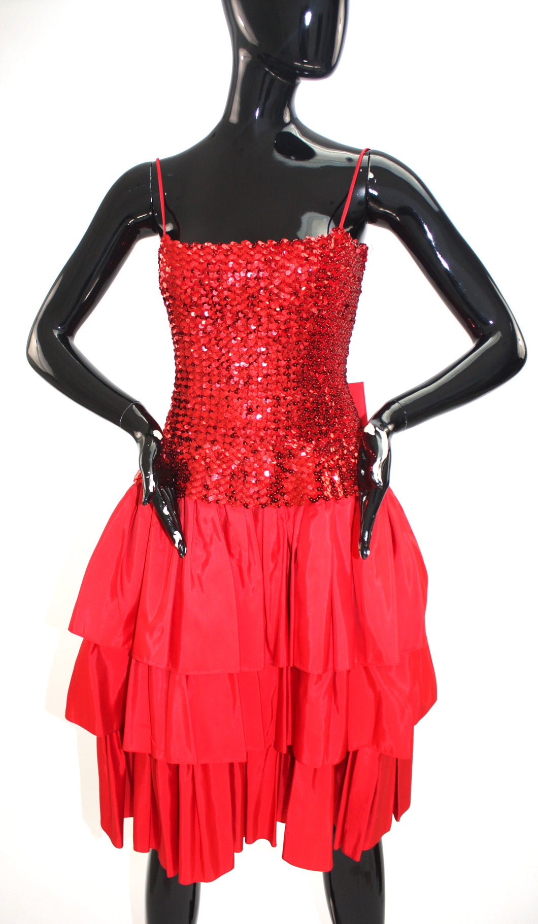 Vintage 1980s red layered sequin party dress