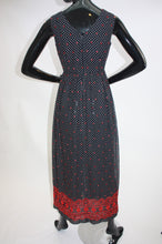 Load image into Gallery viewer, Vintage 1970s soft Cotton polka dot embroidered maxi dress