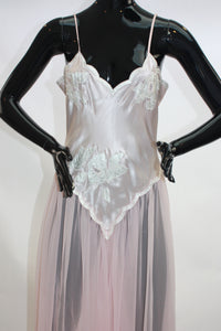 Blush pink Vintage Victorias Secret floral applique and chiffon nightie