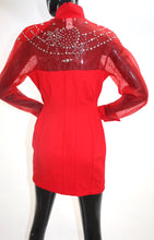 1980s Red Dynasty style rhinestone and studs mini dress