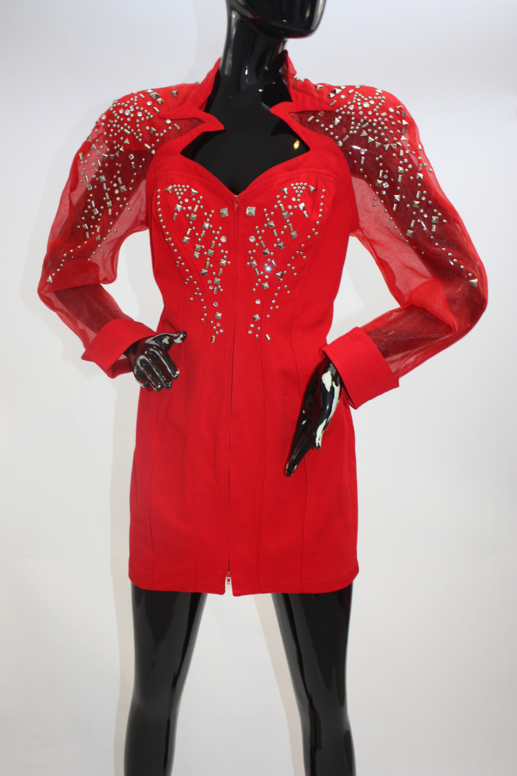 Vintage 1980s Red Dynasty style rhinestone and studs mini dress