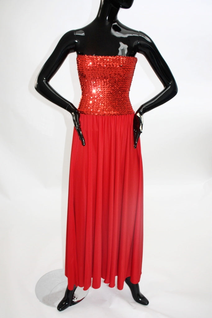 Vintage 1970s Candy Apple Red Disco dress