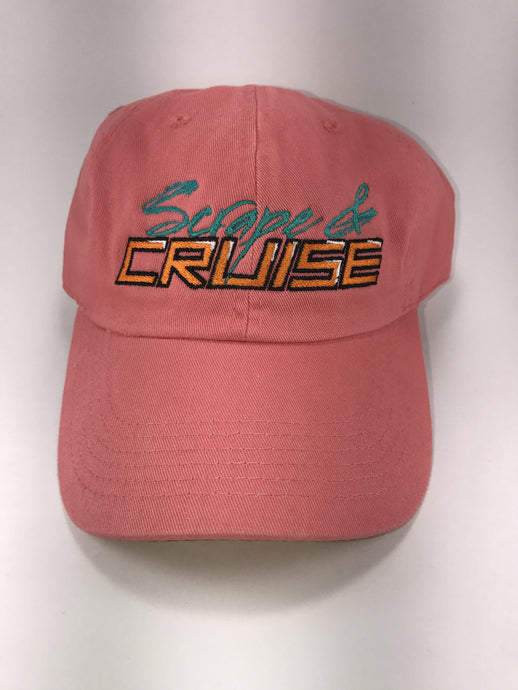 Scrape N Cruise Embroidered Dad Hat (Coral/Peach)