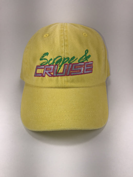 Scrape N Cruise Tropical Dandelion Embroidered Dad Hat (Sunflower Yellow)