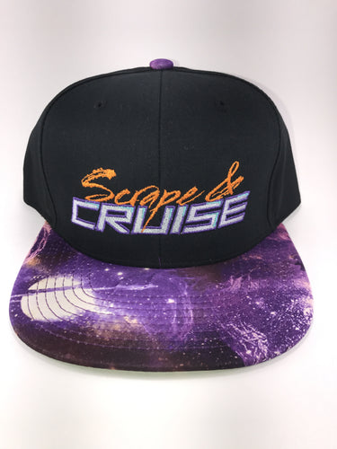 Scrape N Cruise Embroidered SnapBack (Black/Purple Galaxy Brim)