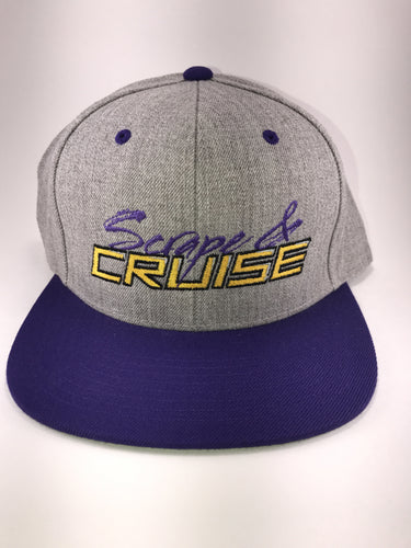 Scrape N Cruise Embroidered SnapBack (Grey/Purple Brim/Yellow Letters)