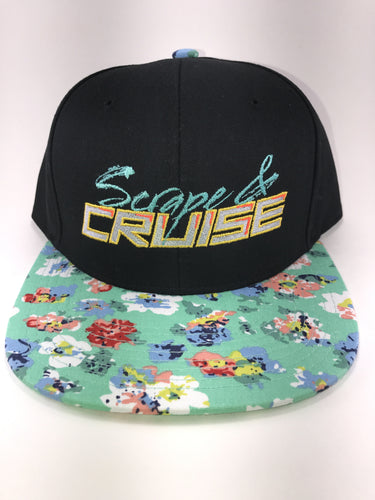Scrape N Cruise Embroidered SnapBack (Black/Mint Floral Brim)