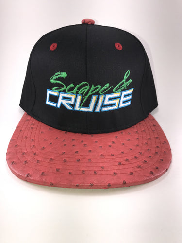 Scrape N Cruise Pink Potholes Textured Embroidered SnapBack (Black/Pink Textured Brim)
