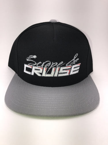 Scrape N Cruise Embroidered SnapBack (Black/Grey Brim/Grey Scrape &)