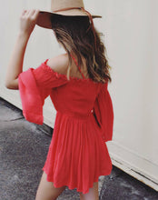 Poppy Red Off Shoulder Romper