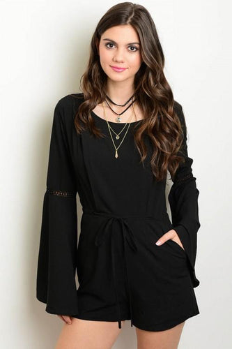 Black Flare Sleeve Romper