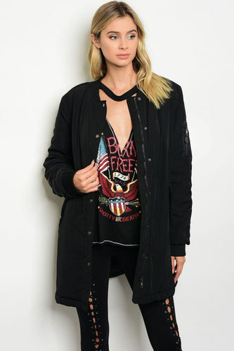 Long Black Bomber Jacket