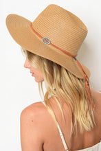 Tan Hat with Faux Leather Western Deets