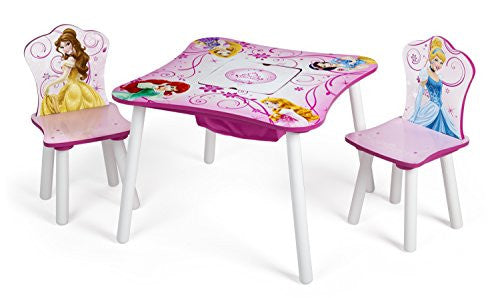 Delta Children Table and Chair Set with Storage, Disney Princess