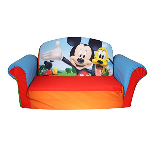 Marshmallow Furniture, Children's 2 in 1 Flip Open Foam Sofa, Disney Mickey Mouse Club House, by Spin Master