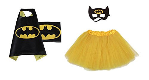Rush Dance Kids Children's Deluxe Comics Super Hero CAPE & MASK & TUTU Costume (Batman (Yellow Tutu))